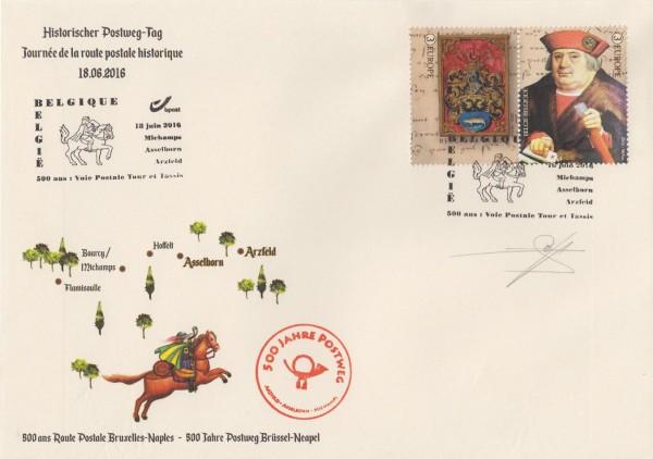 Historischer Postweg-Tag 2016, Beleg mit MiNr. 4650/1 und ESSt Belgien 18.6.16
