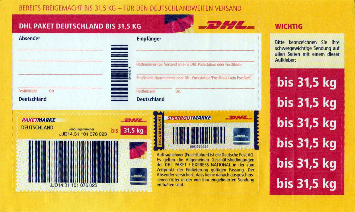 paketmarke deutschland bis 31 5 kg mit sperrgutmarke hologramm dhl logo deutschland deutschland. Black Bedroom Furniture Sets. Home Design Ideas