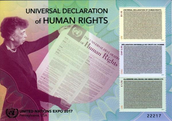 Block: Deklaration der Menschenrechte, Expo 2017, UNO Genf u. Wien GA