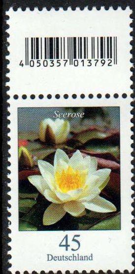Dauer Blume, Seerose, 45er, ohne Nummer, aber mit anhäng. Codemarke