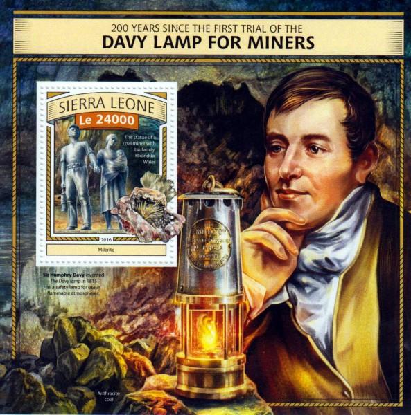 Block: Lampe für Bergleute u. Mineralien