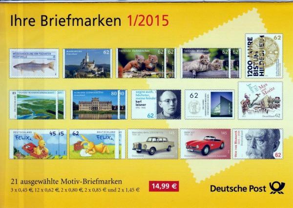 Präsentationspack: Ihre Briefmarken 1/2015, 21 Motiv-Briefmarken aus 2015