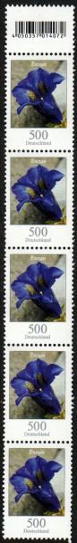 Dauer Blumen, Enzian, 500er, 5er-Strei- fen mit anhängender Codemarke