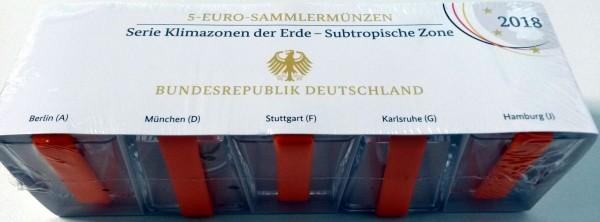 5 Euro Subtropische Zone 2018, Spiegel- glanz, Komplett-Satz ADFGJ, Original VfS