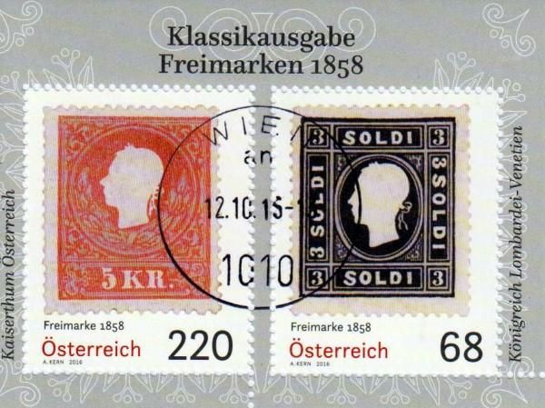 Block: Freimarken 1858, gestempelt