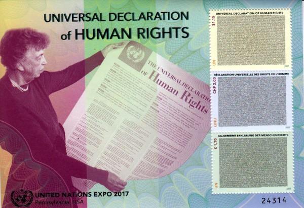 Block: Deklaration der Menschenrechte, gestempelt