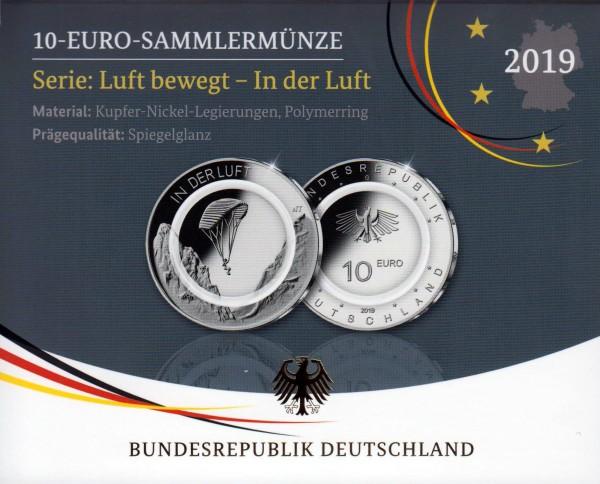 """10 € Sondermünzen """"In der Luft 2019"""", Komplett-Satz A/D/F/G/J, Spiegelglanz PP"""