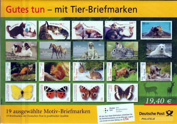Präsentationspack 2010: Gutes Tun - mit Tier-Briefmarken, 19 Werte, Zuschlagsmarken