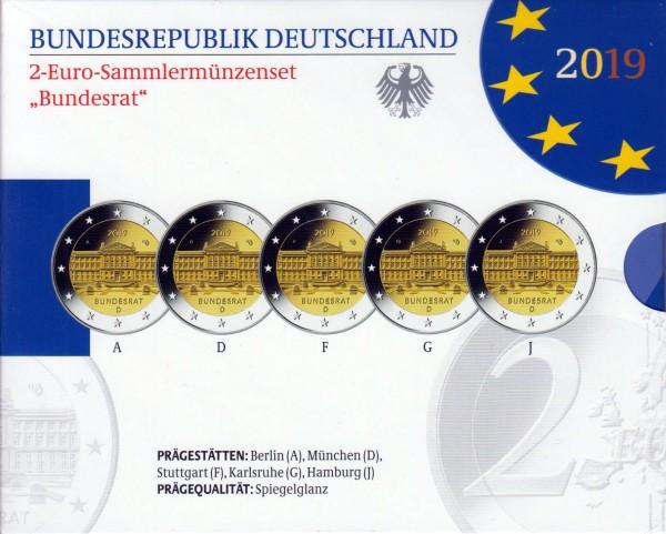 """2 Euro Sammlermünzenset """"Bundesrat"""" 2019 mit allen 5 Münzen ADFGJ in Spiegelglanz"""