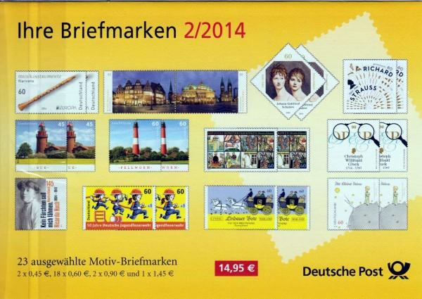 Präsentationspack: Ihre Briefmarken 2/2014, 23 Motiv-Briefmarken aus 2014