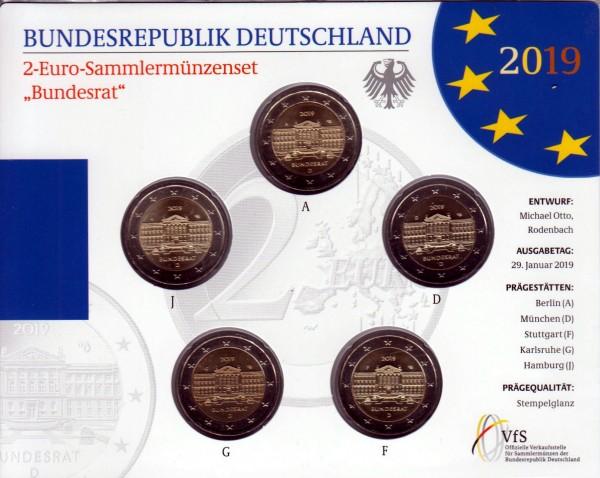 """2 Euro Sammlermünzenset """"Bundesrat 2019"""" mit allen 5 Münzen ADFGJ in Stempelglanz"""