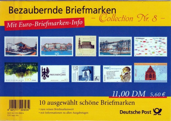 Präsentationspack 2001: Bezaubernde Brief- marken, Collection Nr. 8, Doppelwährung
